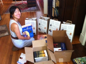 Intern Lanie Honda putting together the collection for distribution to the communiity