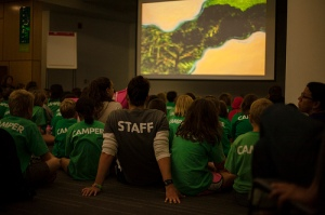 Nearly 100 YMCA campers and staff attended the reading and participated in activities Photo by Gabe Bornstein